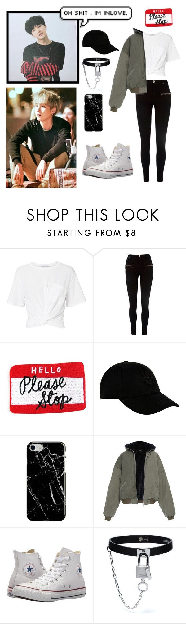 """""""Suga ~ So Sleepy"""" by amongthestars7 ❤ liked on Polyvore featuring T By Alexander Wang, River Island, STONE ISLAND, Recover and Converse"""