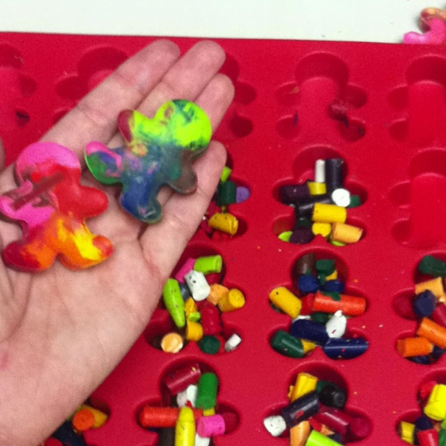 """Great way to recycle old crayons and teach my students about tolerance of people who are a different race. Accompanies the book """"The Crayon Box That Talked"""" really well, as well as the book """"My Many Colored Days"""". I bake the crayons at 300 degrees for about 10 minutes. The mold is from Hobby Lobby."""