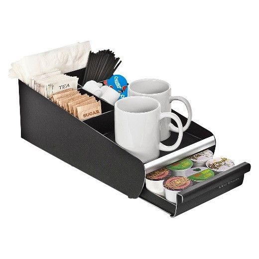 One piece Black coffee condiment organizer is made from a tough and safe plastic that will stand the test of time. This unit has 7 compartments and one K-Cup drawer that is a necessity for any Breakroom or kitchen. Imagine making your morning cup a Joe and everything you need is at your fingertips?