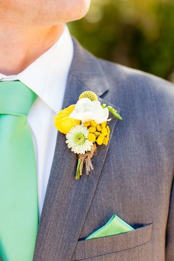 Yellow Boutonniere  / http://www.himisspuff.com/mint-and-yellow-wedding-ideas/4/