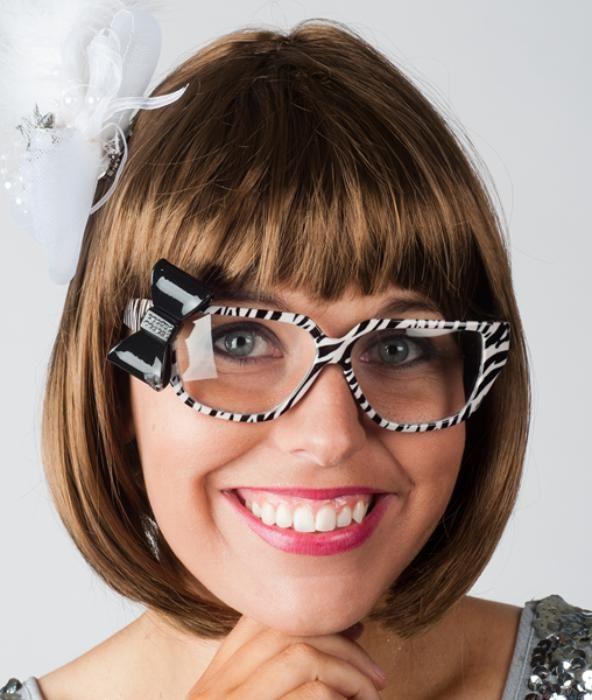 Zebra bril met strikje - Las Fiestas
