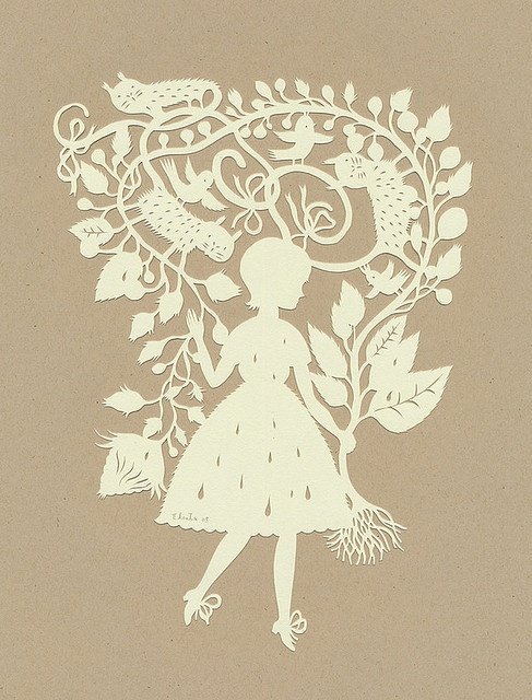 Rain Girl :) (papercut) by Elsita (Elsa Mora),