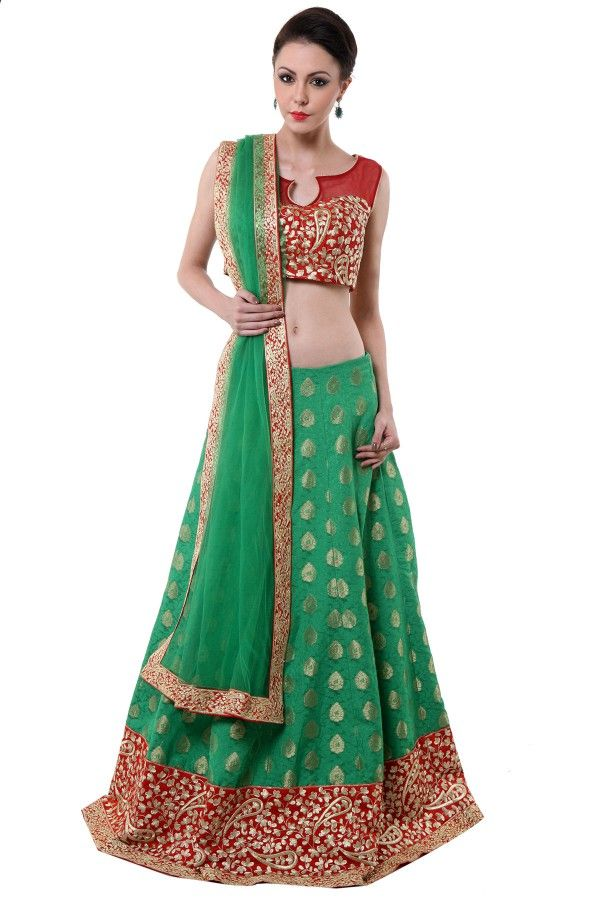 #banarasi brocade red green #lehenga   http://www.shadesandyou.com/product/banarsi-brocade-red-green-lehenga/