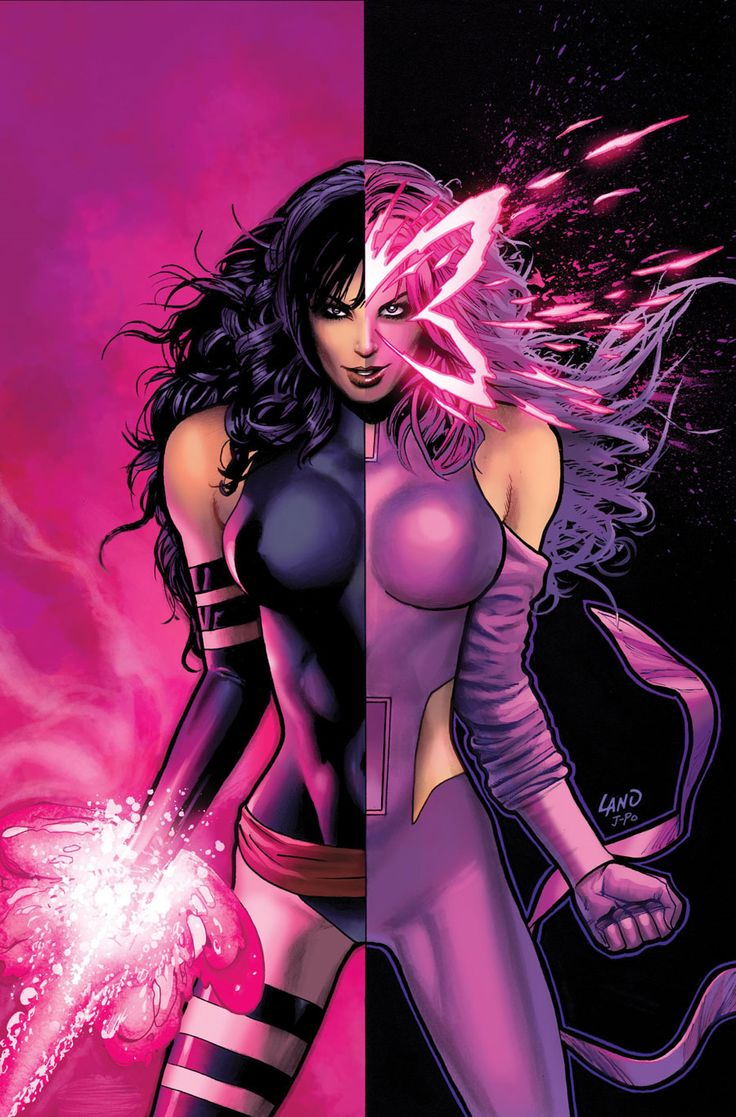 "Psylocke: Elizabeth ""Betsy"" Braddock may not have the most costume changes over her history, but she has had some of the most drastic. Not only has she changed her clothing, she even switched her race. She tried a few different hair colors until coming across purple and knew she had a winner. ~ pencils by Greg Land"