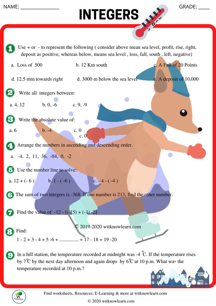 Integers worksheets integers worksheet grade 6 math
