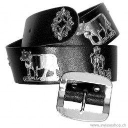 Appenzeller Gürtel, Vintage-Style, 4cm breit, schwarz / Appenzeller Belt, Vintage Style, 4cm wide, black is a typical Schweiezr belt.