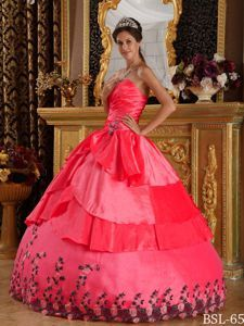 Coral Red Taffeta Ruches Quinceanera Gown Dresses with Appliques