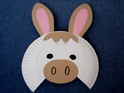 Paper plate donkey mask for Donkey face mask template