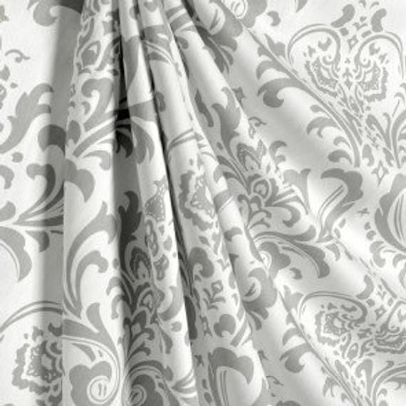 One Pair Gray And White Damask Curtains With Images Damask