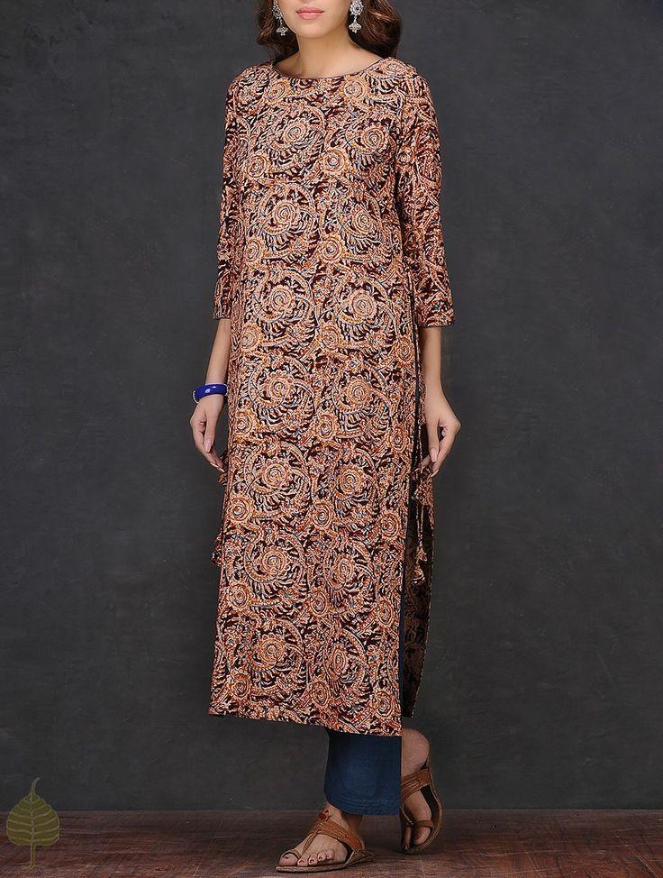 Buy Maroon Beige Kalamkari printed Boat Neck Cotton Kurta by Jaypore Women Kurtas A Flair for dresses and pants Online at Jaypore.com