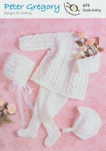 Peter Gregory Double Knitting Pattern - 673 Baby Clothes Set