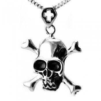 Stainless Steel Skull Crossbones Pendant