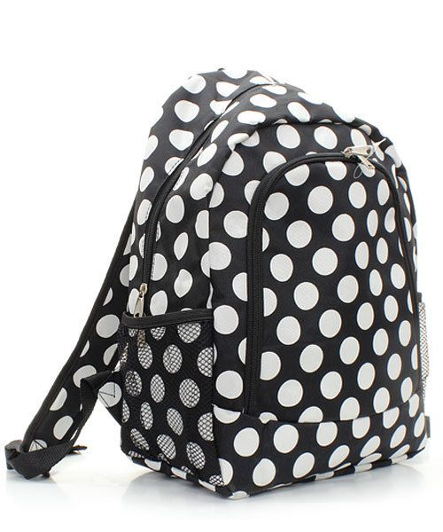 Personalized Backpack Black White Dots Girls Monogram Bookbag by DoubleBEmbroidery on Etsy