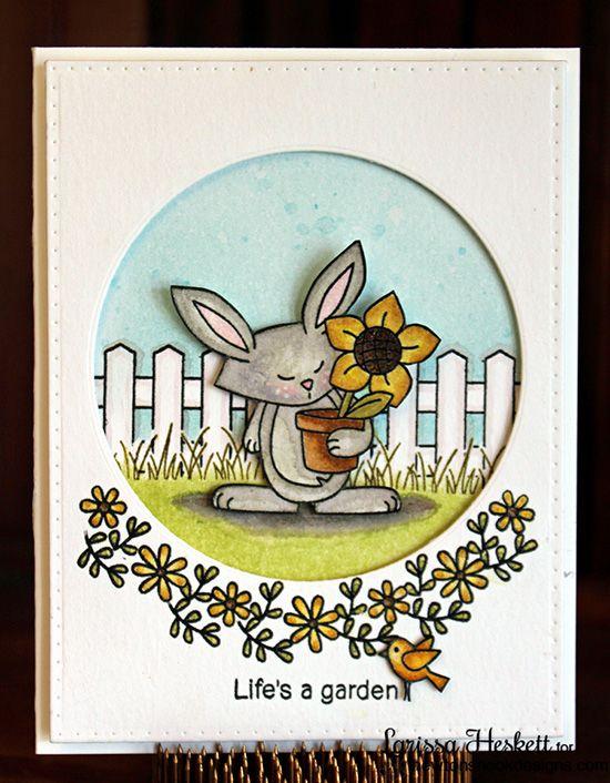 Life's a Garden card by Larissa Heskett | Garden Whimsy | Garden Stamp Set by Newton's Nook Designs