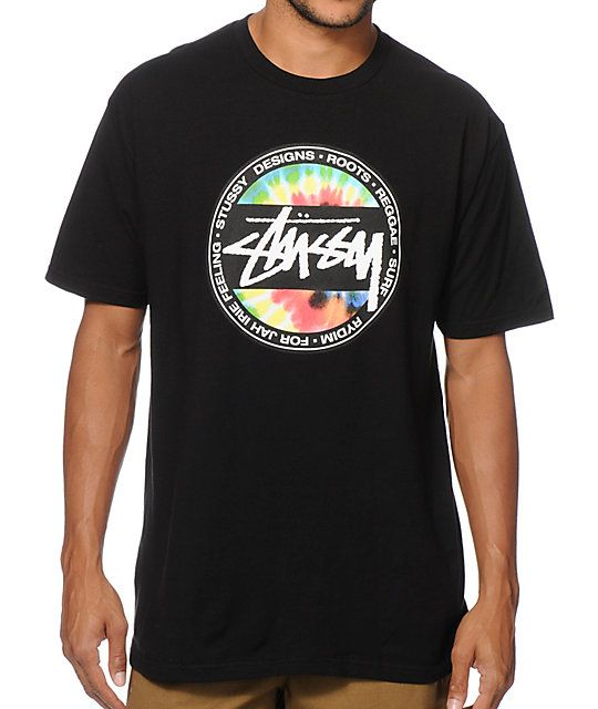 Get an Irie look with a white Stussy script logo and tie dye dot chest graphic.