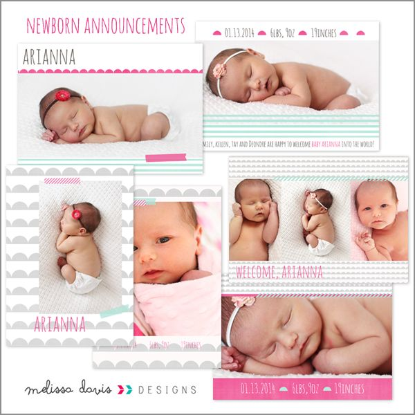 Arianna birth announcements Templates for Photographers [] - $22.00 : Melissa Davis Designs, Photoshop templates, Card templates, album templates and more for the every day photographer