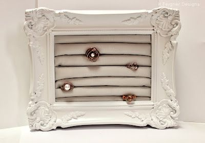 Ring Display Holder, made using a frame. So cool!! I actually made one of these, and it turned out great. Super easy, only took about two hours (including drying time)