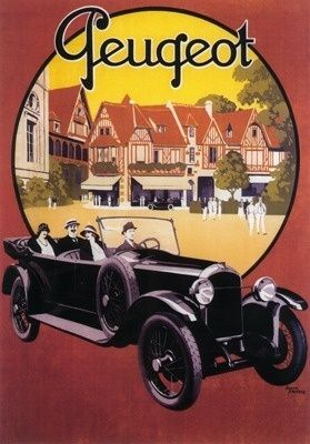 France - Peugeot Automobile Promotional Poster (1920)