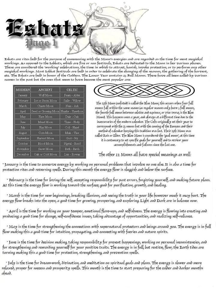 Esbats p1. - esbats = monthly times useing the moon/goddess to aid timed magickal workings; sabbats = sun/fire festivals/celebrations.