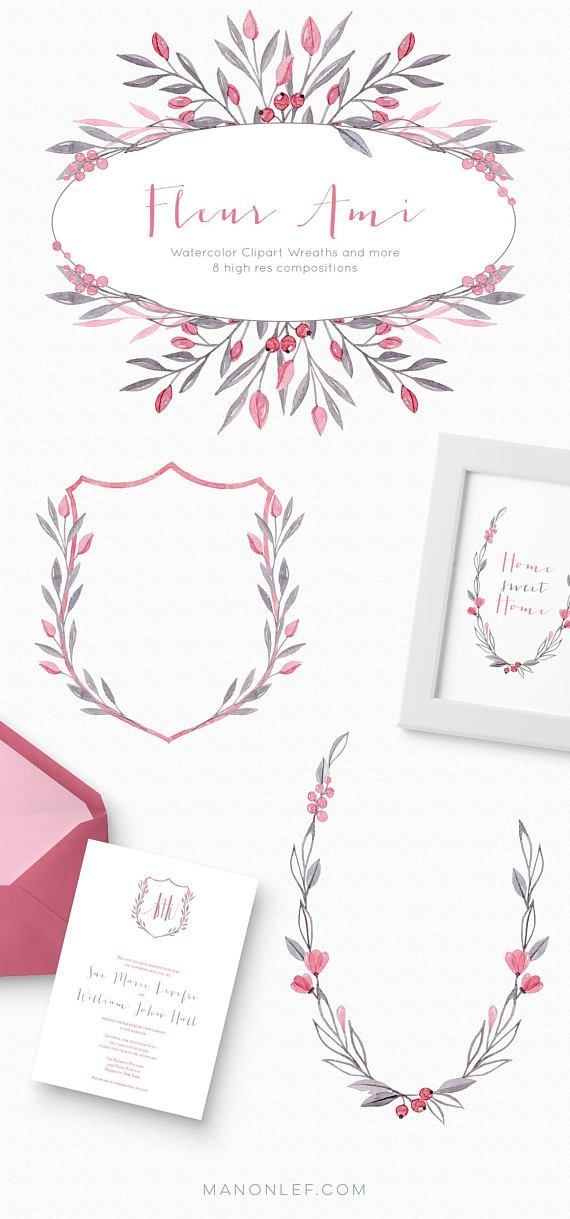 Watercolor floral clipart wedding clipart wedding graphics