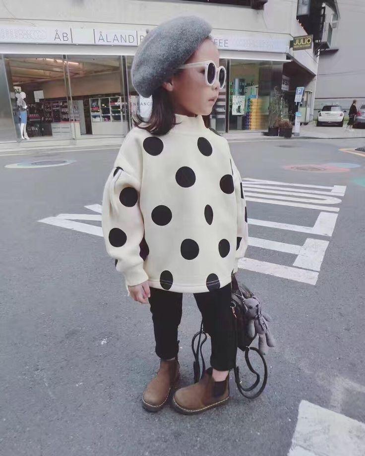 GL1016  2016/17 AW Trendy Girl's Fashion Big Dot Pullover