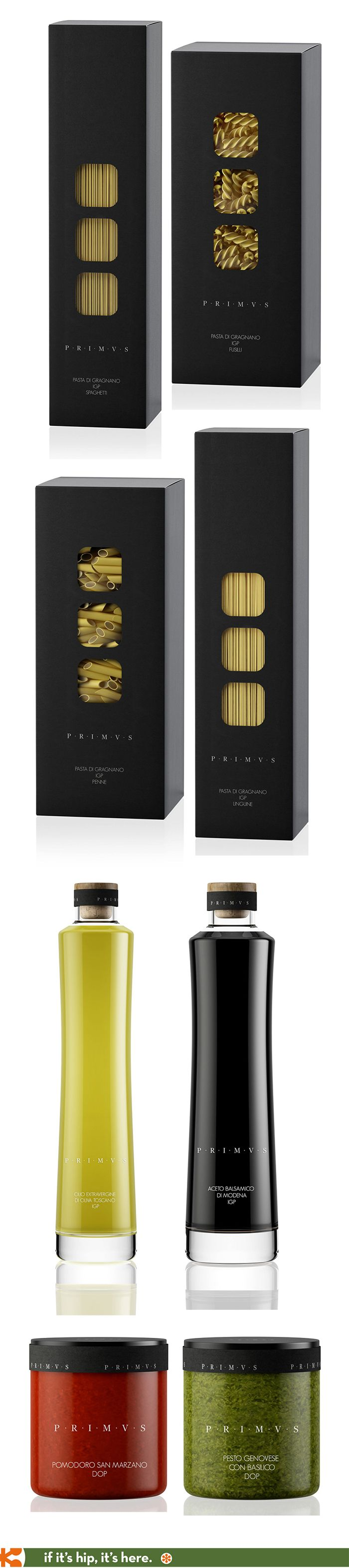 Dried pasta packaging, oil and vinegar bottles and pesto jars for Primvs Foods.
