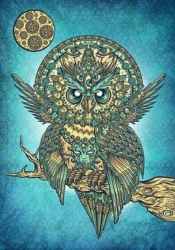 tribal #owl art - turquoise