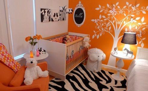 Quarto de bebê laranja ousado e moderno | Quarto de bebê - Decoração, bebês, gravidez e festa infantil