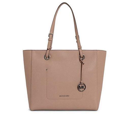 e03faac25ddb9 Michael Kors Walsh Large Top Zip EW Tote Shoulder Bag Fawn Saffiano Leather