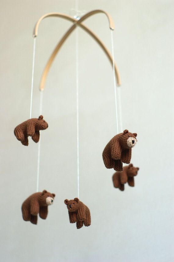 nursery mobile baby mobile  bear mobile  made to by Patricija
