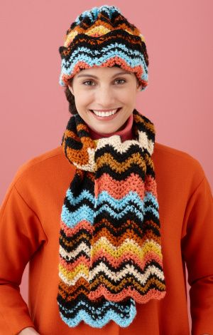 Free Crochet Pattern: Iconic Ripple Hat And Scarf