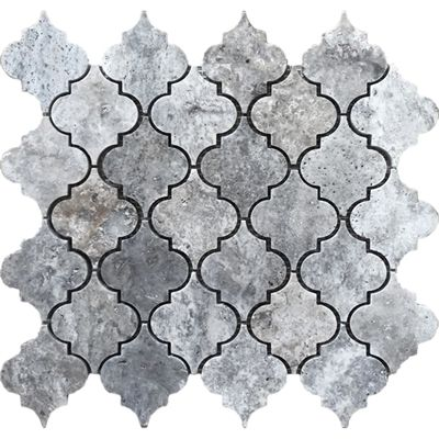 Avenzo 12-in x 12-in Silver Lantern Natural Stone Travertine Mosaic Wall Tile