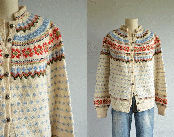 Slalåm 54. Vintage Nordic Wool Fair Isle Cardigan / 70s Hand by zestvintage