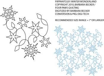 Winter Wonderland ( Snowflakes ) Pantograph by Barbara Becker / Four Paws Quilting FRPPANTO201