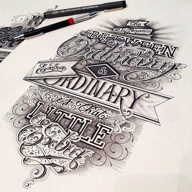 Hand lettered crest