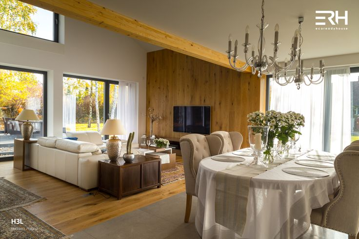 House H3L in Kłodawa, Poland #architecture #design #modernarchitecture #dreamhome #home #house #modernhome #modernhouse #moderndesign #homedesign #homesweethome #scandinavian #scandinaviandesign #lifestyle #livingroom #diningroom #stylish #bigwindows #interior #interiors #homeinterior #pastel #sofa #couch #stairs #woods #comfortzone #cozy #white #decor #openspace #ecoreadyhouse #erh