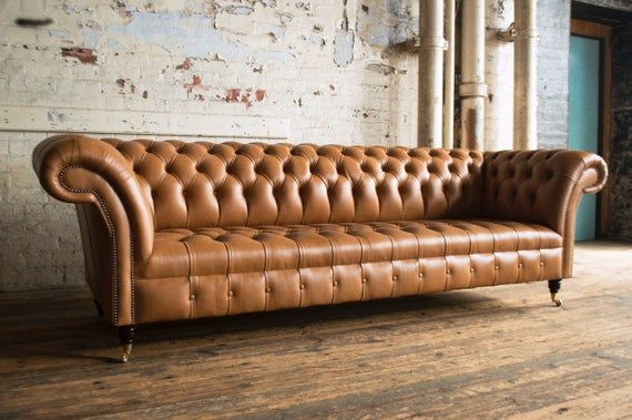 Handmade Large 4 Seater Distressed Vintage Tan Leather Etsy In