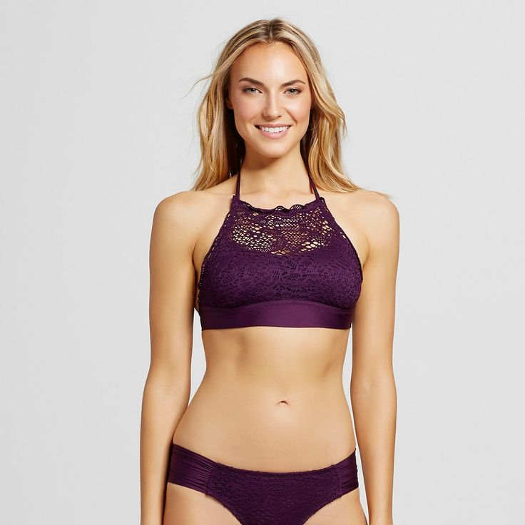 Women's Crochet High Neck Bikini Top - Dark Plum Purple - XL - Mossimo