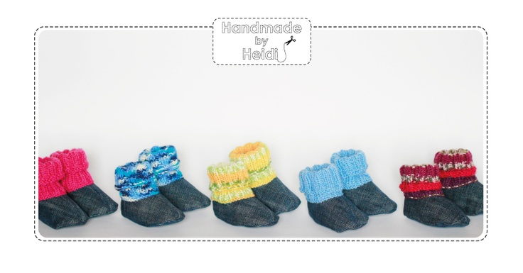 Booties made of used jeans and left over yarn / Tossut kierrätysfarkusta ja jämälangasta