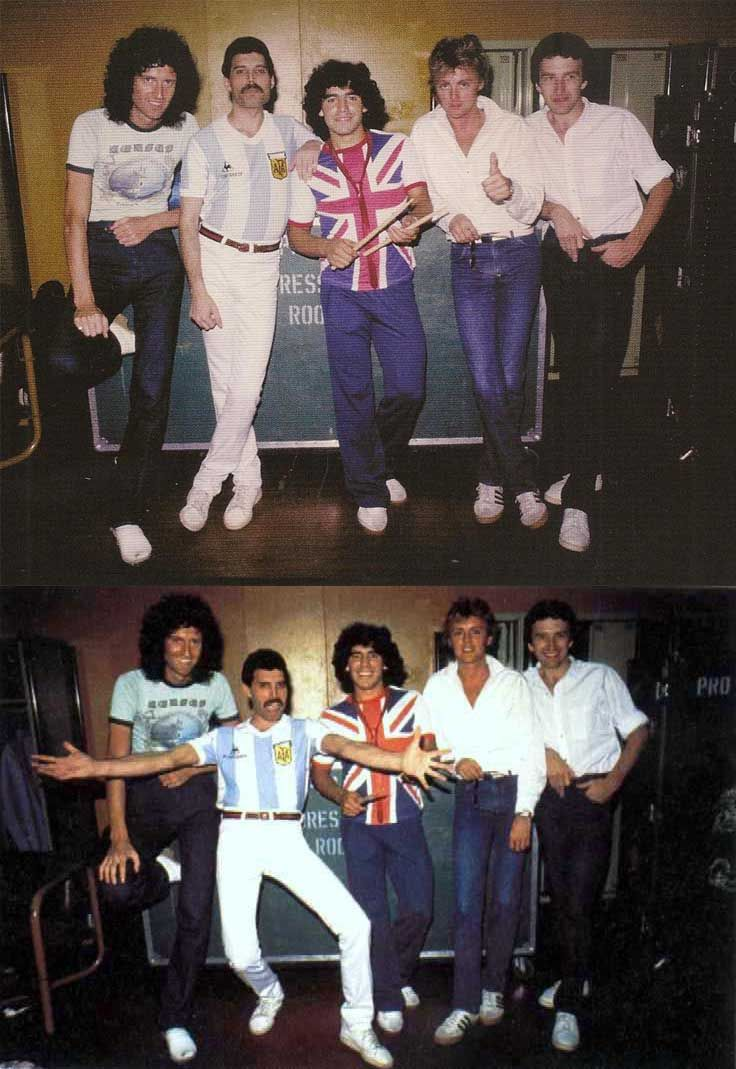 Brian May, Freddie Mercury, Diego Maradona, Roger Taylor and John Deacon | Rare, weird & awesome celebrity photos