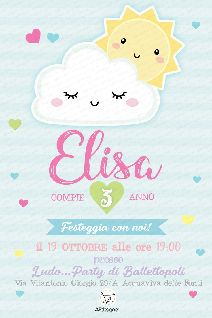 Digital Girl CUTE CLOUDS Birthday Party Invitation
