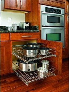 Sliding Shelves In Your Kitchen Cabinets . So Brillant! Rev A Shelf In  Cabinet Chrome Cabinet Organizer Contemporary Cabinet And Drawer Organizers