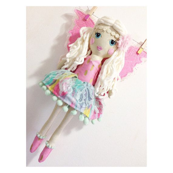 "17"" pink fairy doll with party dress, cloth doll rag doll fabric doll blonde fairy."