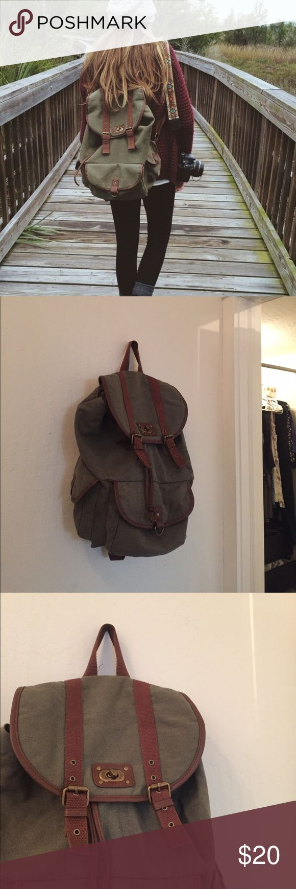 Green Backpack Green adventure backpack! Only worn once❤ This is target! Exact same backpack as the photo Brandy Melville Bags Backpacks
