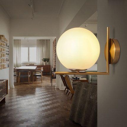 Creative boule en verre de mur lampe or fer corps chambre de chevet mur monté éclairage décoration brève moderne allée murale