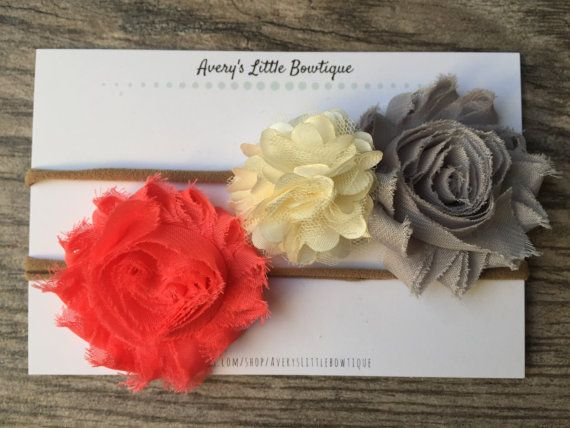 Baby Girl Headbands  Red White and Grey by AverysLittlebowtique