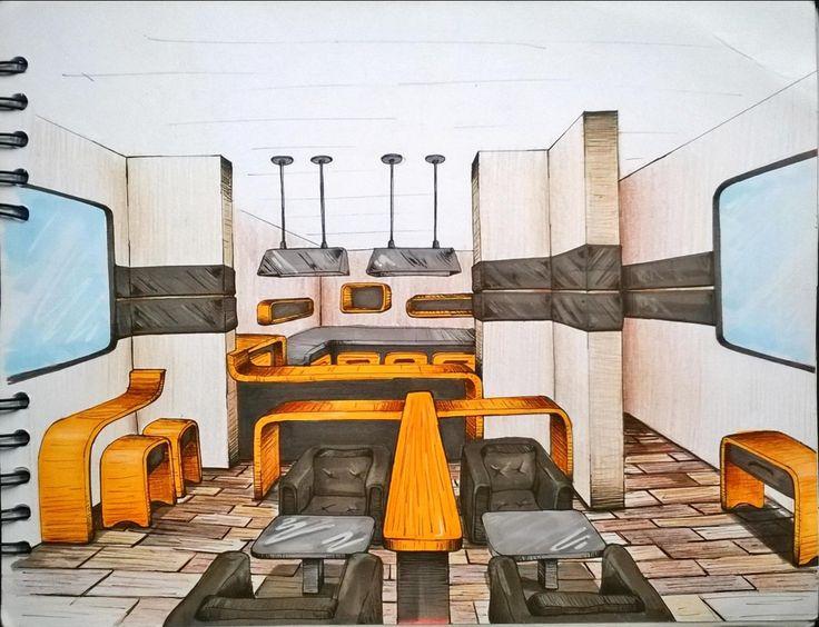 Sketch Interior design.  Restaurant,  Furniture Sketch. Marcadores, Markers, ilustración, illustration.