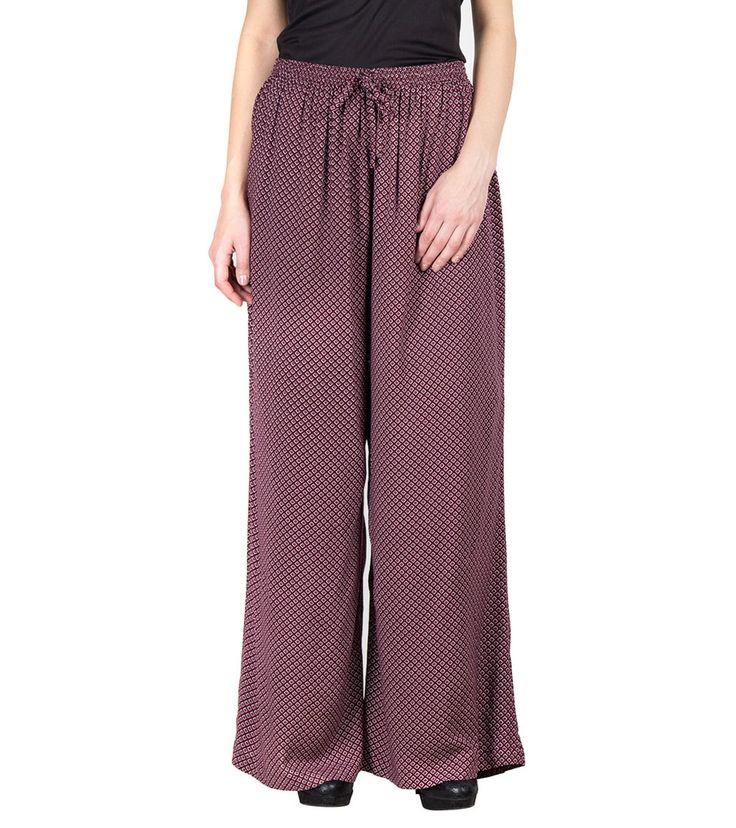 Maroon Crepe Printed Straight High Waist Palazzos #indianroots #fusionwear #palazzos #crepe #printed #summerwear #casualwear