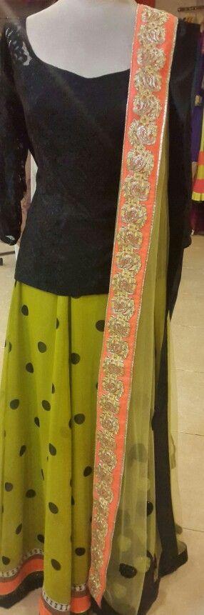 #beautiful#black-lace#orange-boarder#zariboarder#desistyle#bollywood#