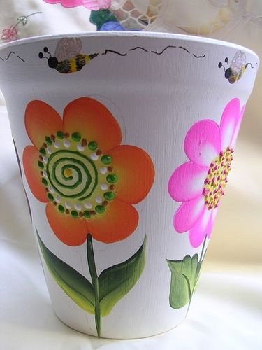 ONE STROKE FLORAL TERRACOTTA FLOWER PLANTER by Jade Scarlett, via Flickr